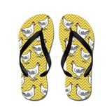 Yellow Chevron Chicken Flip Flops