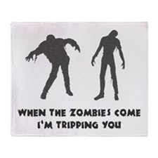 When Zombies Come Trip Throw Blanket