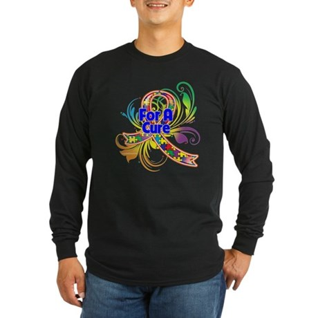 Autism For A Cure Long Sleeve Dark T-Shirt
