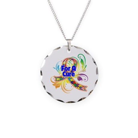Autism For A Cure Necklace Circle Charm