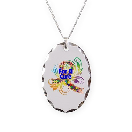 Autism For A Cure Necklace Oval Charm