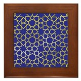 Gold Islamic Art Star Pattern Framed Tile