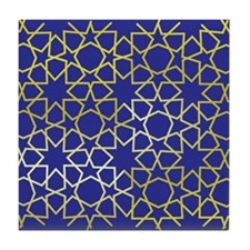 Gold Islamic Art Star Pattern Tile Coaster