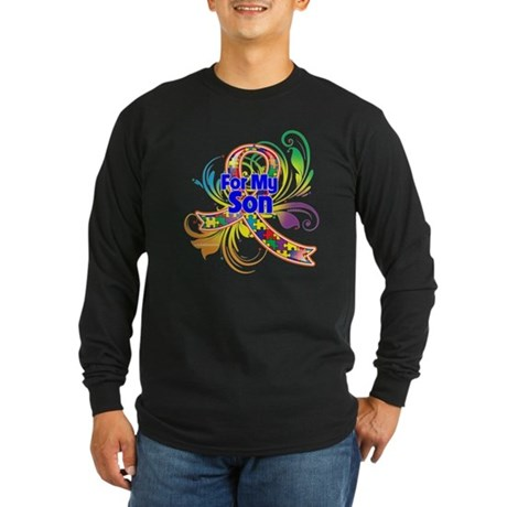 Autism For My Son Long Sleeve Dark T-Shirt