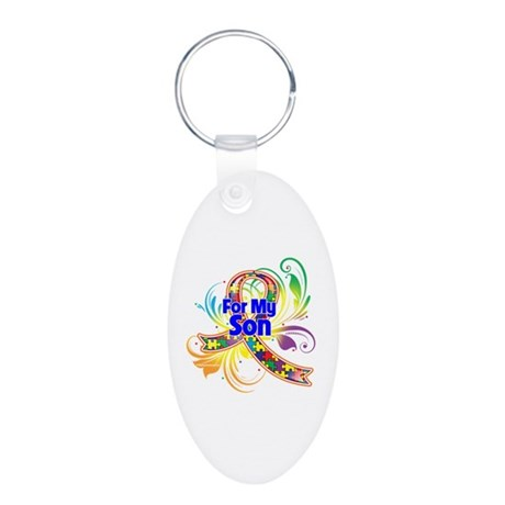 Autism For My Son Aluminum Oval Keychain
