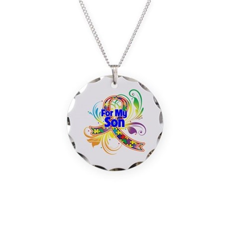Autism For My Son Necklace Circle Charm
