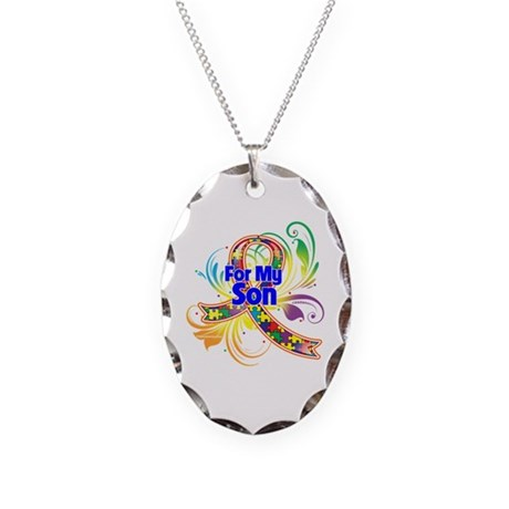Autism For My Son Necklace Oval Charm