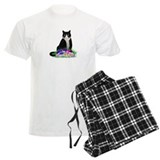 Tuxedo Cat and Pansies pajamas