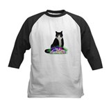 Tuxedo Cat and Pansies Tee
