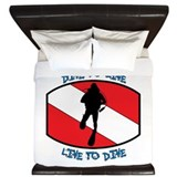 """Dive to Live to Dive"" King Duvet"