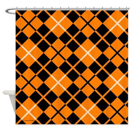 Orange And Black Argyle Shower Curtain By Rainbowhot