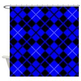 Blue and Black Argyle Shower Curtain