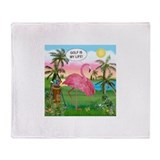 Golfing flamingo Throw Blanket
