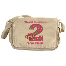 2nd Birthday Monkey Girl Messenger Bag