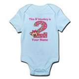 2nd Birthday Monkey Girl Infant Bodysuit