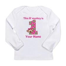 1st Birthday Monkey Girl Long Sleeve Infant T-Shir