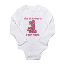 1st Birthday Monkey Girl Long Sleeve Infant Bodysu