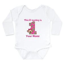 1st Birthday Monkey Girl Long Sleeve Infant Bodysu