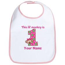 1st Birthday Monkey Girl Bib