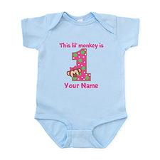 1st Birthday Monkey Girl Infant Bodysuit