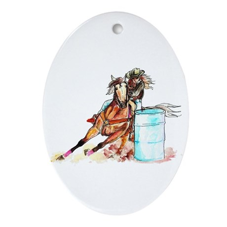 Barrel Racer Ornament (Oval)