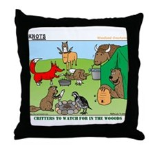 KNOTS Woodland Creatures Cartoon Throw Pillow