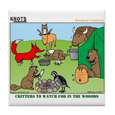 KNOTS Woodland Creatures Cartoon Tile Coaster
