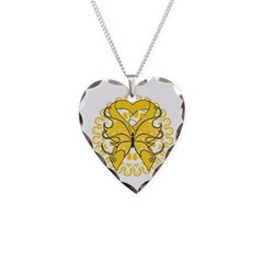 Neuroblastoma Butterfly Necklace Heart Charm