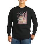 Cherry Blossom Shiba Inu Long Sleeve Dark T-Shirt