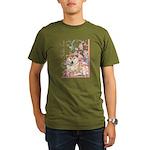 Cherry Blossom Shiba Inu Organic Men's T-Shirt (da