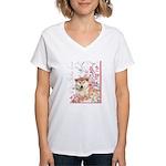 Cherry Blossom Shiba Inu Women's V-Neck T-Shirt