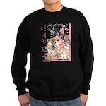 Cherry Blossom Shiba Inu Sweatshirt (dark)