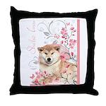 Cherry Blossom Shiba Inu Throw Pillow