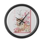 Cherry Blossom Shiba Inu Large Wall Clock