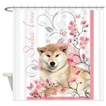 Cherry Blossom Shiba Inu Shower Curtain