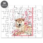 Cherry Blossom Shiba Inu Puzzle