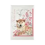 Cherry Blossom Shiba Inu Rectangle Magnet (10 pack