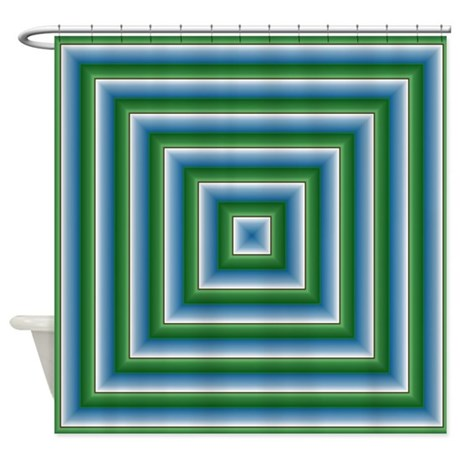 Blue and Green Squares Shower Curtain