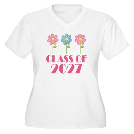2027 School Class cute Women's Plus Size V-Neck T-