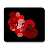 Red Music Notes and Polka Dot Mousepad