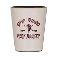 Give Blood Play Hockey Shot Glass