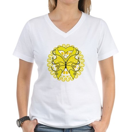 Butterfly Ewing Sarcoma Women's V-Neck T-Shirt