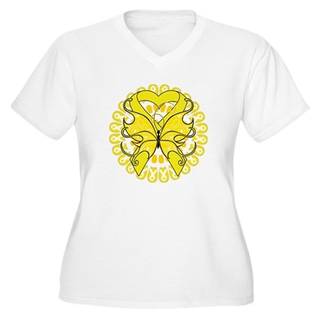 Butterfly Ewing Sarcoma Women's Plus Size V-Neck T