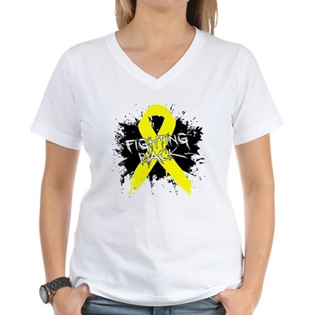 Fighting Back Ewing Sarcoma Women's V-Neck T-Shirt