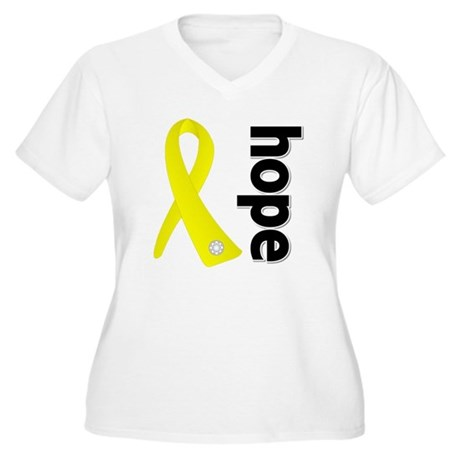 Hope Ribbon Ewing Sarcoma Women's Plus Size V-Neck