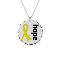 Hope Ribbon Ewing Sarcoma Necklace Circle Charm