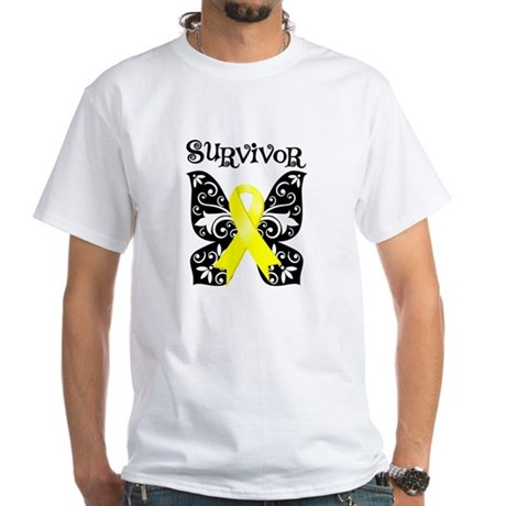 Survivor Butterfly Ewing Sarcoma White T-Shirt