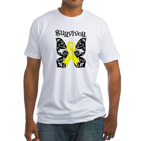 Survivor Butterfly Ewing Sarcoma Fitted T-Shirt