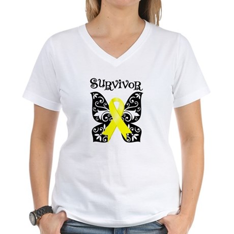 Survivor Butterfly Ewing Sarcoma Women's V-Neck T-