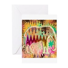 Golden_TieDyed_Elephant Greeting Cards (Pk of 10)